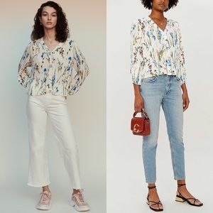 MAJE Larcy Floral Pleated Top Blouse